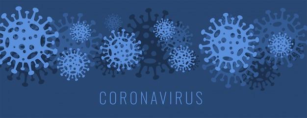 コロナウイルスcovid-19バナー、青色のウイルス細胞