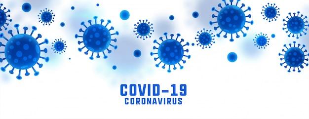 Знамя вспышки коронавируса covid-19 с вирусными клетками
