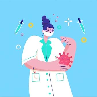 Профилактика коронавируса (covid-19). доктор носить маску для лица исследует вирус.