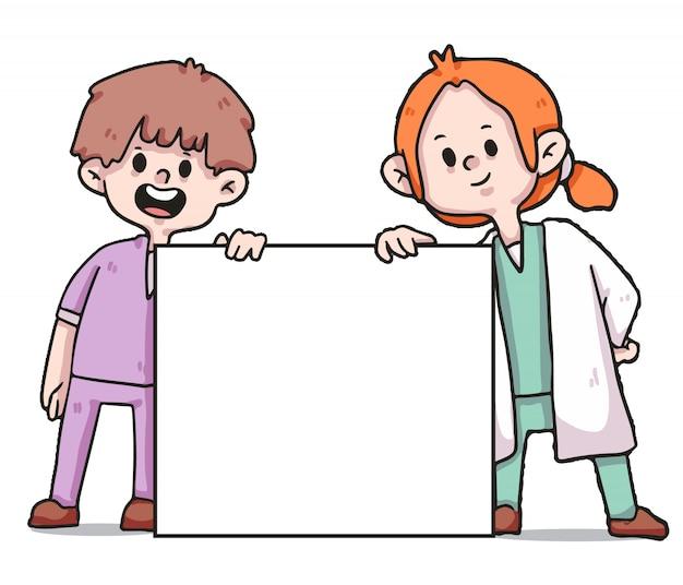 Медицинские работники, держа знамя covid-19 иллюстрации