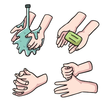 Вымойте руки симпатичная иллюстрация для коронавируса covid-19