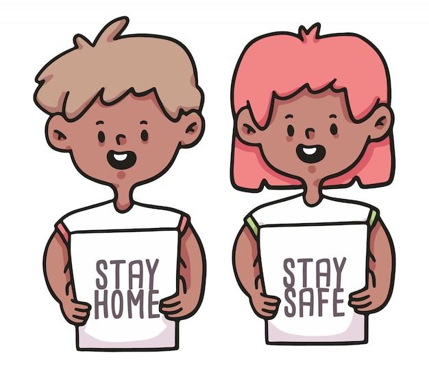 Оставайся дома, будь в безопасности люди, одетые в знак covid-19 иллюстрации
