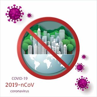 Белый город с зеленым лесом на земле и зеленой предпосылкой закрыл для блокировки с концепцией covid-19.