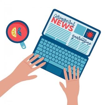 コロナウイルスcovid 19速報ニュースのコンセプト。時計コロナウイルスの大発生のニュースのためのラップトップコンピューターを持っている手。人はニュースを読んでいます。フラット横たわっていた構成。フラットの図。