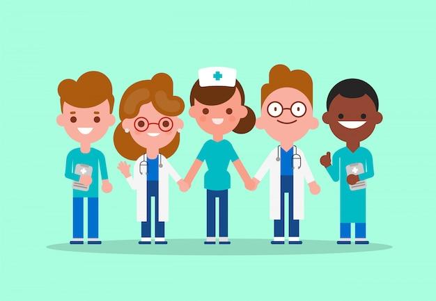 医師、看護師、医療従事者が一緒に手を繋いでいるチーム。 covid-19ウイルスの概念との戦い。ベクトル漫画キャライラスト。