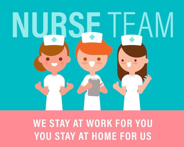 一緒に立っている看護師のチーム。 covid-19ウイルスの概念との戦い。ベクトル漫画キャライラスト。