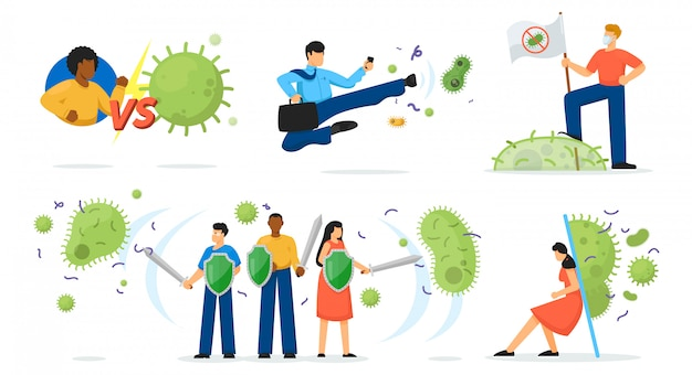 ウイルス保護セット。剣と盾のコロナウイルスcovid-19、細菌や細菌のコレクションとの戦いで孤立した人の漫画のキャラクター。ベクトル医学と健康保護の概念図