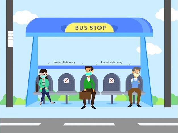人々のイラストは、コロナウイルス(covid-19)を防ぐために社会的距離を維持しながら、バス停でフェイスマスクを着用しています。