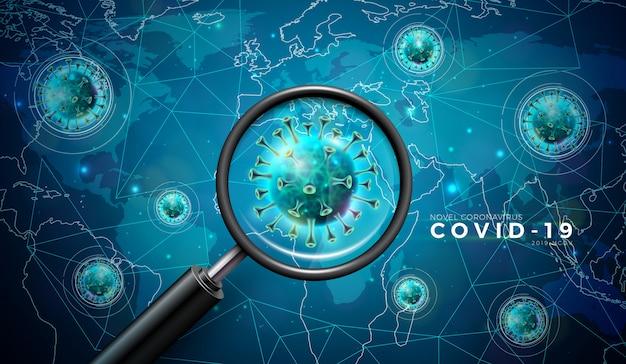 Covid-19. дизайн вспышки коронавируса с вирусной ячейкой и увеличительным стеклом в микроскопическом изображении на фоне карты мира.