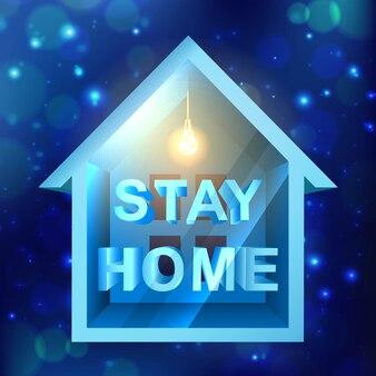 バナーcovid-19、柔らかな光と青い背景の小さな家のコロナウイルスの流行のデザインテンプレート。