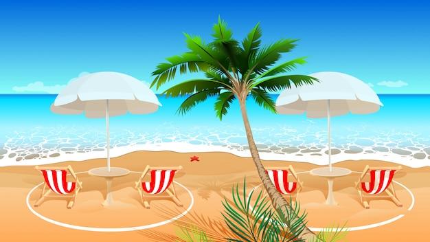 コロナウイルスcovid 19流行後のビーチホリデー。寝椅子の社会的距離。ベクトル漫画イラスト