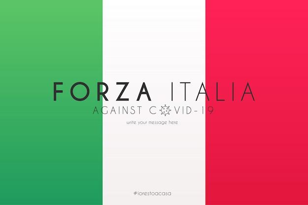 Итальянский флаг с сообщением поддержки против covid-19
