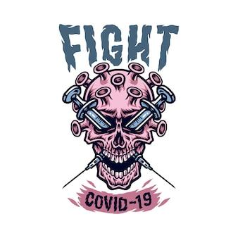 Иллюстрации концепции черепа коронавируса covid-19, рисованной линии с цифровым цветом, иллюстрация