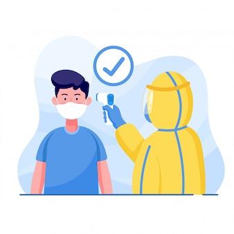 防護服を着た男性は、コロナウイルスを保護するために男性の体温を測定します。世界コロナウイルスとcovid-19の大流行とパンデミック攻撃の概念。