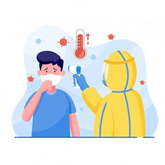 防護服を着た男性は、コロナウイルスを保護するために症状の咳の温度がある男性を測定します。世界コロナウイルスとcovid-19の大流行とパンデミック攻撃の概念。