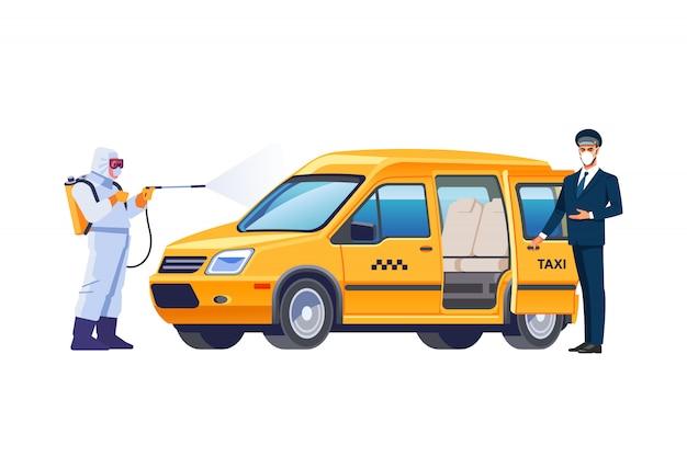 車の横にあるフェイスマスクのタクシードライバー。防護マスクとスーツの消毒作業者のキャラクターが、タクシー車に細菌やウイルスをスプレーします。コロナウイルスまたはcovid-19保護。漫画のベクトル。