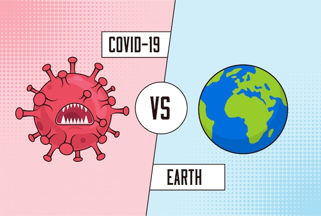 Covid-19コロナウイルス対地球。コロナウイルスに対する世界的な戦い。対概念。