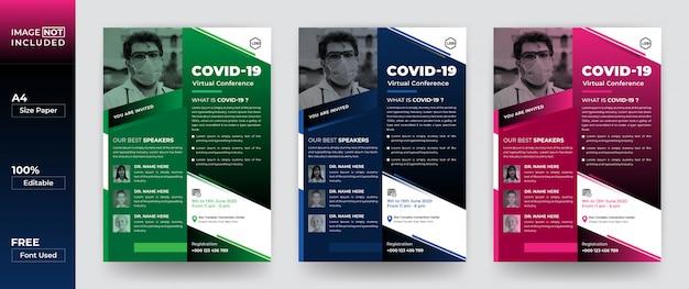 Covid-19 семинар шаблон дизайна флаера