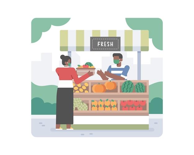 コロナウイルスcovid-19パンデミックイラストの真ん中で中小企業をサポートするために健康な有機果物を購入して買い物をする若い黒人女性