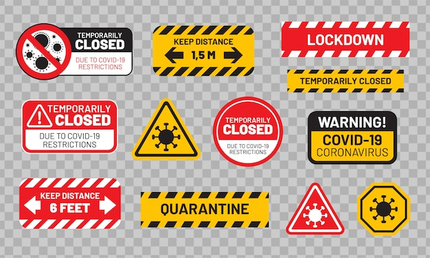 Карантинный знак установлен для covid-19 (коронавирус). наклейки или наклейки «карантин», «временно закрыто», «блокировка», «держать дистанцию» и т. д.