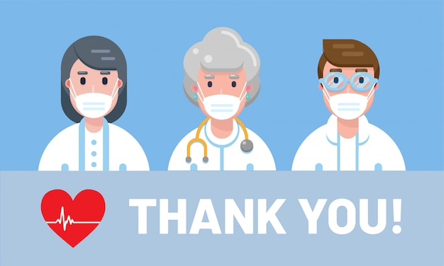マスクをかぶった医師や看護師。タグライン「ありがとう!」病院で働き、covid-19と戦うすべての医療従事者に