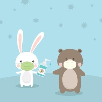 ウサギとクマの漫画のキャラクターは医療マスクを着ています。コロナウイルス(covid-19)の図の概念から保護するために手消毒剤アルコールゲルで手を洗浄します。
