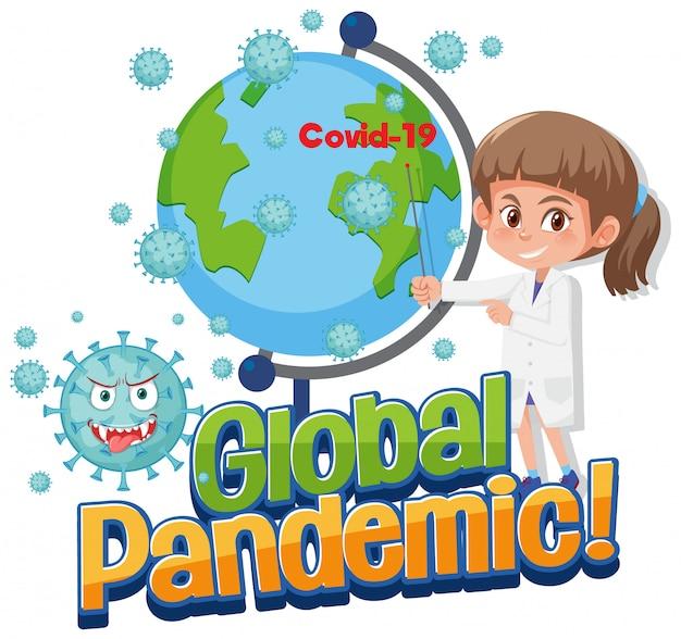 Мультипликационный доктор, показывающий глобальную пандемию covid-19
