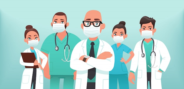 医療用保護マスクの医師のチーム。コロナウイルスcovid-19との戦い。ベクトルイラスト