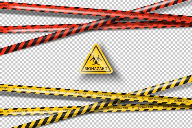 Изолированный комплект ленты желтой опасности опасности биологической опасности черный. лобальный пандемический коронавирус covid-19