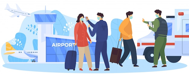 国境で乗客をチェック、covid-19イラスト。サービスワーカーが空港近くの発熱がないか到着を確認します。男性と女性