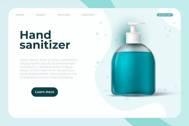 手の消毒剤のようなcovid 19防止オブジェクトを備えたコロナウイルス情報ウェブページのデザイン。