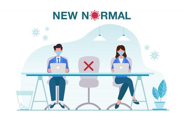 オフィスの人々との新しい通常の概念図は、お互いから距離を置き、病気の発生を防ぐフェイスマスクを使用しています。 covid-19パンデミックコンセプト後の新しいノーマル