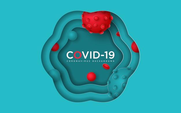 紙カットコロナウイルスまたはcovid-19の背景