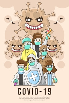 Иллюстрация фильма о коронавирусе covid-19 с медицинской командой против вируса