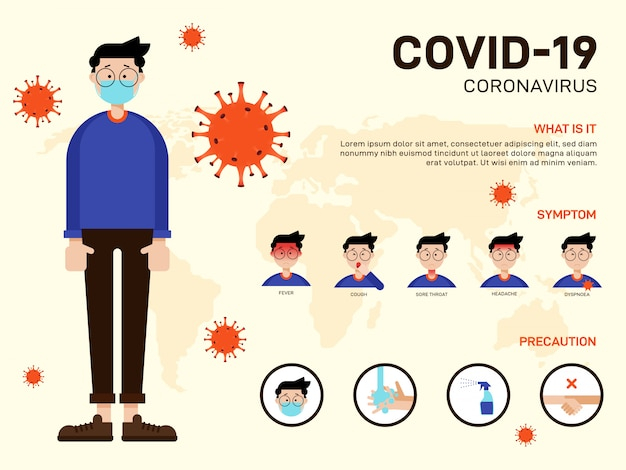 Covid-19コロナウイルス発生インフォグラフィックテンプレートデザイン