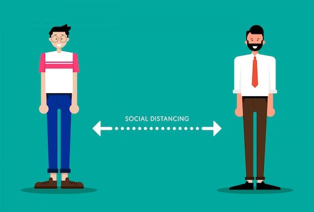 社会的距離の概念、covid-19またはコロナウイルスの蔓延を制限するために、人々は互いに距離を置く