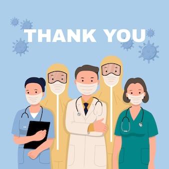Covid-19パンデミックのフロントライナーを務めてくれた医師と看護師に感謝します。コロナウイルスのヒーロー。フラットスタイルデザインのベクトル。