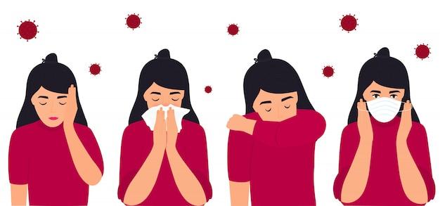 Covid-19. коронавирусная профилактика и симптомы. головная боль. девушка надевает защитную маску, чихает на локоть, в салфетку.