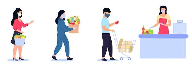 防護マスクをかぶった人々は、社会的距離を保つレジ係の待ち行列にいます。コロナウイルスcovid-19流行の検疫中の安全なショッピング