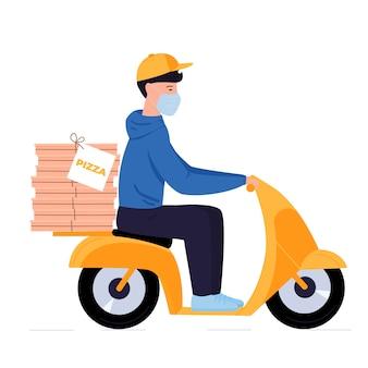 Covid-19。検疫。コロナウイルスの流行。防護マスクの配達人はバイクでピザを運ぶ