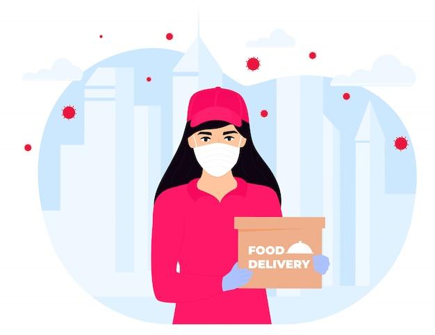 Covid-19. карантин в городе. коронавирусная эпидемия. курьер девушка в защитной медицинской маске держит посылку в руках. бесплатная доставка еды. остаться дома