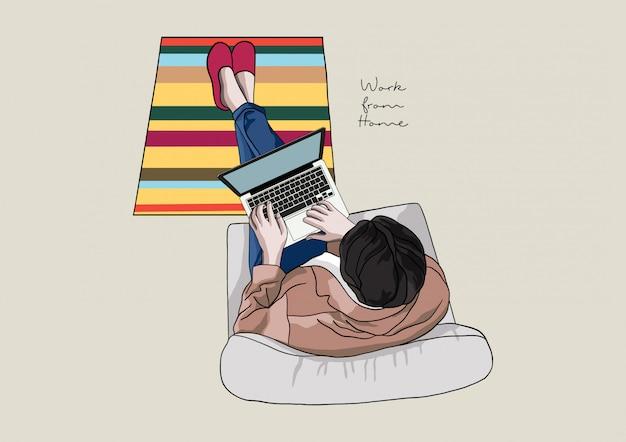 Иллюстрация людей, работающих из дома во время пандемии covid-19, социальное дистанцирование, оставайся дома, оставайся в безопасности