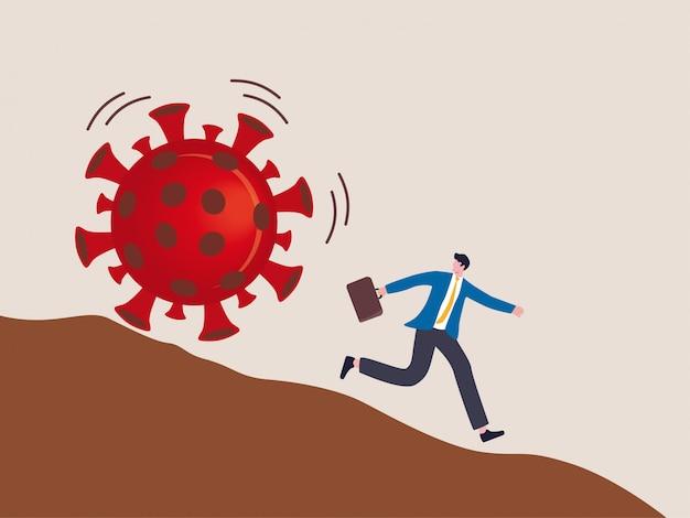 Убегая от концепции вспышки вирусной болезни, риска или опасности в концепции вирусного кризиса, бизнесмен убегает от скатывания вниз по склону камня вируса-возбудителя covid-19.