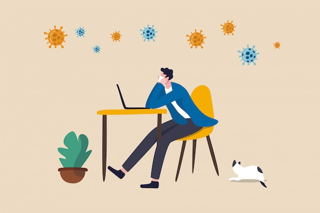 コロナウイルスの発生社会的距離の家から退屈な仕事、家にいる、低生産性の概念に退屈、covid-19ウイルス病原体に退屈なコンピューターラップトップで自宅で仕事をしているオフィスの男。