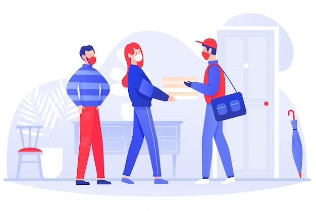 若いカップルの男性女性は、マスクと手袋で宅配便から食品小包を取得します。コロナウイルスcovid-19小説コンセプトフラットイラスト中に安全な配達宅配便。