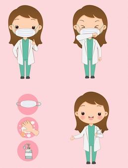 コロナウイルス(covid-19)の予防。かわいい医者はフェイスマスクを着用し、ウイルスを防ぐ方法を説明します