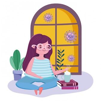 Сиди дома, молодая женщина с чашкой кофе на книгах в комнате, карантин, covid 19