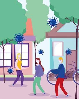 予防コロナウイルスcovid 19、医療用マスクを持つ若者、女性の男性が通りを歩く街、保護集団感染症