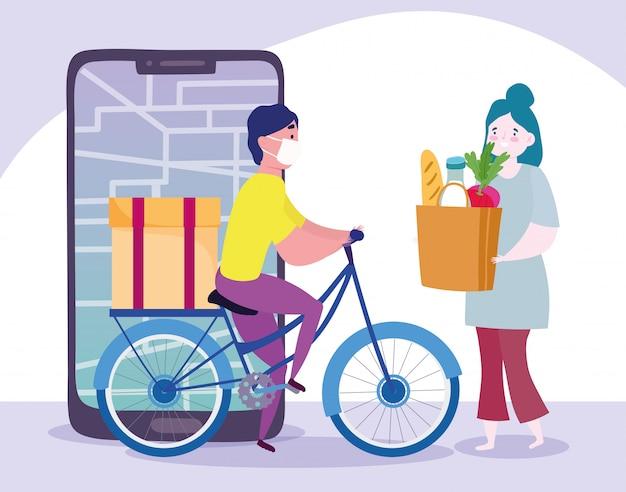 コロナウイルスcovid-19中の自宅での安全な配達、自転車の宅配便配達人、食料品の袋を持った顧客、スマートフォンでのオンライン注文
