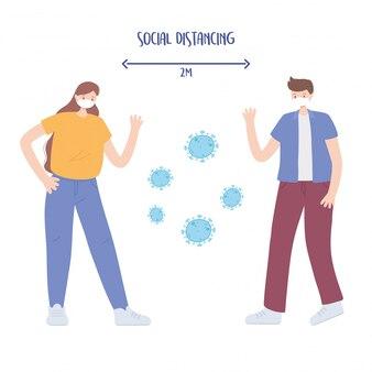 Covid 19コロナウイルス社会的距離の予防、男性と女性の性格、集団発生、医療用フェイスマスクを持つ人々